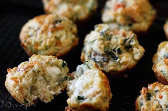 ham, feta and spinach muffins