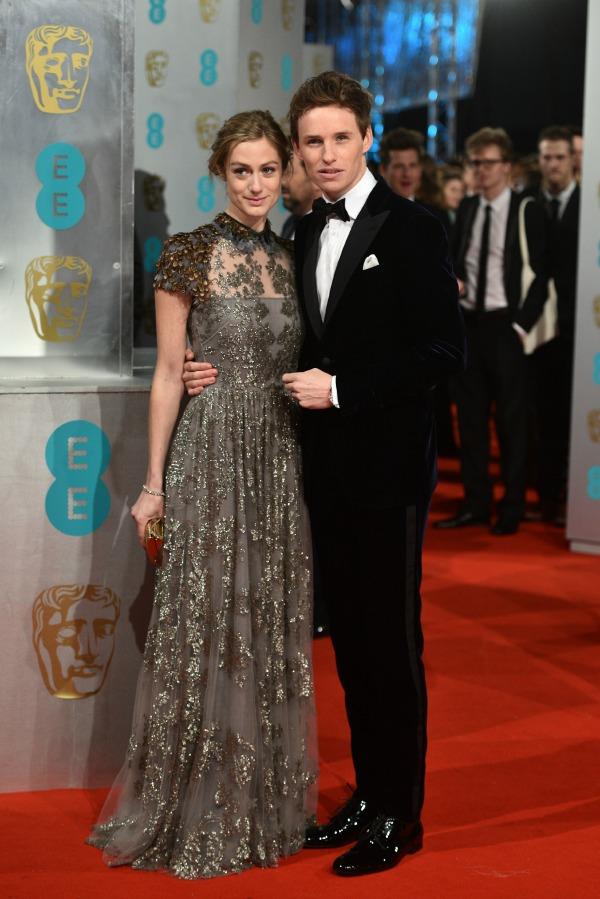 Hannah Bagshawe and Eddie Redmayne at the 2015 Baftas