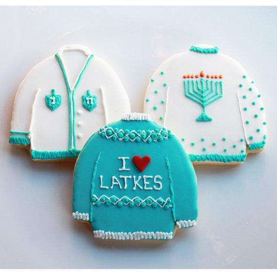 ugly hanukkah sweater cookies