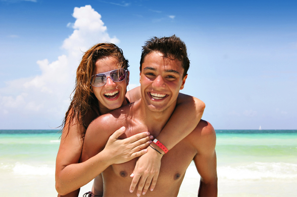 Happy couple on beach vacation