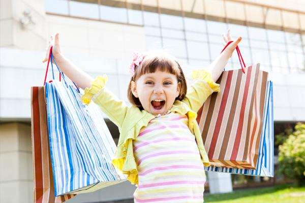 Happy girl back to school shopping