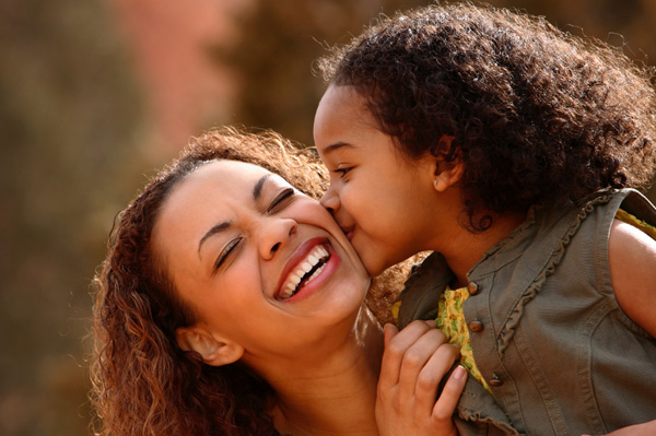 Happy mom with daughter