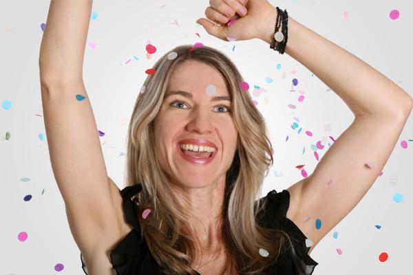 Happy woman at NYE Party