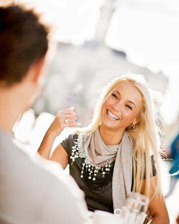 Happy woman on date