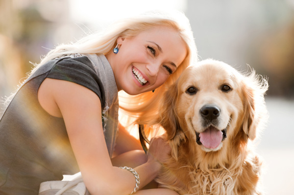Woman with her rescue dog