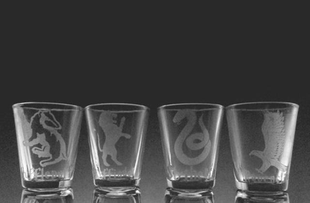 harry potter house shot glasses