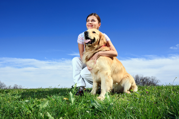 woman with her dog outside