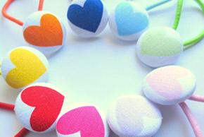 heart button hair ties