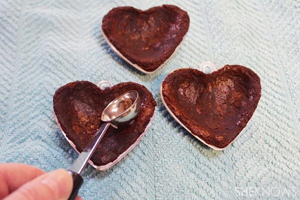 Heart-shaped brownie treasure boxes recipe -- shape heart