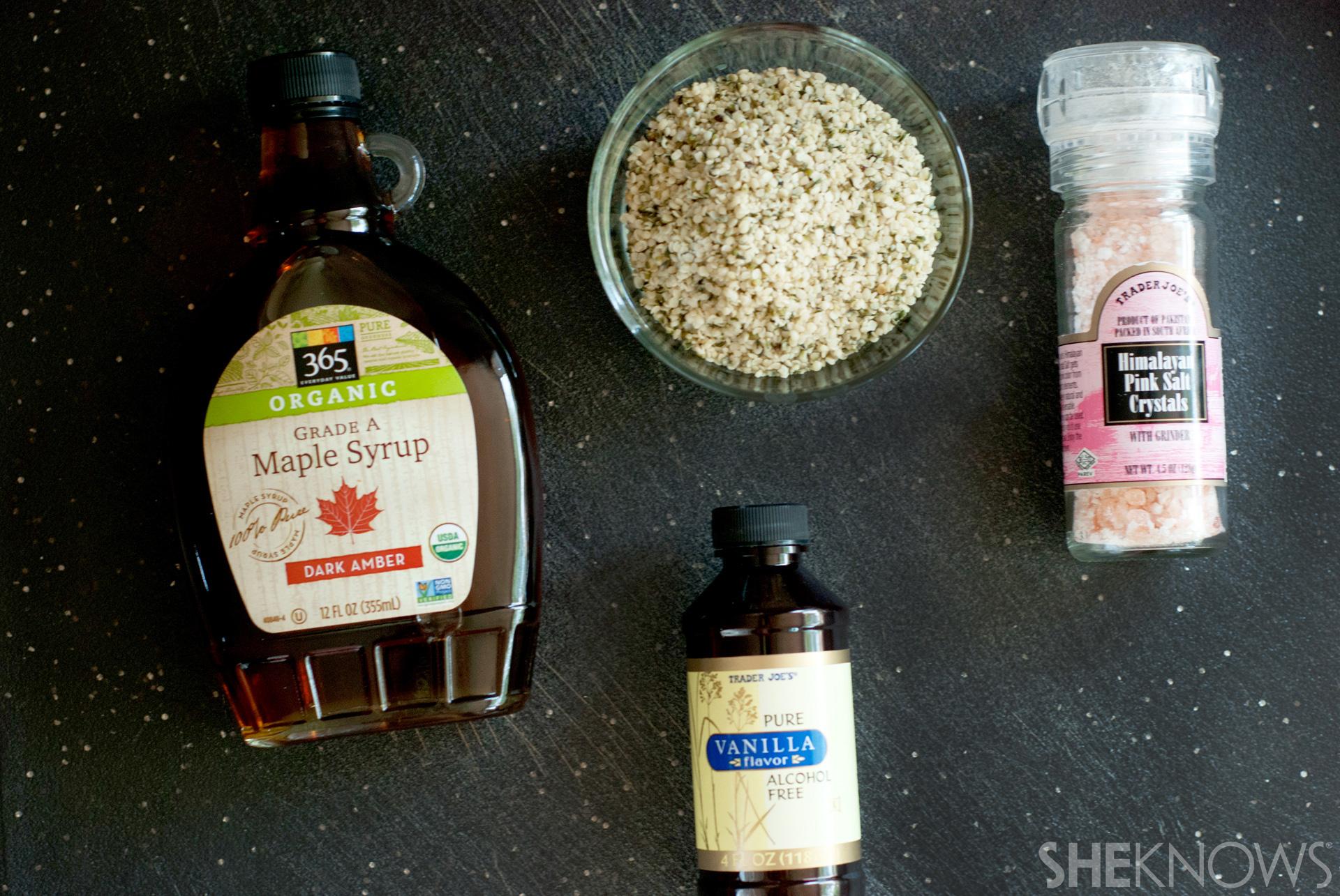 maple-vanilla hemp milk: Ingredients