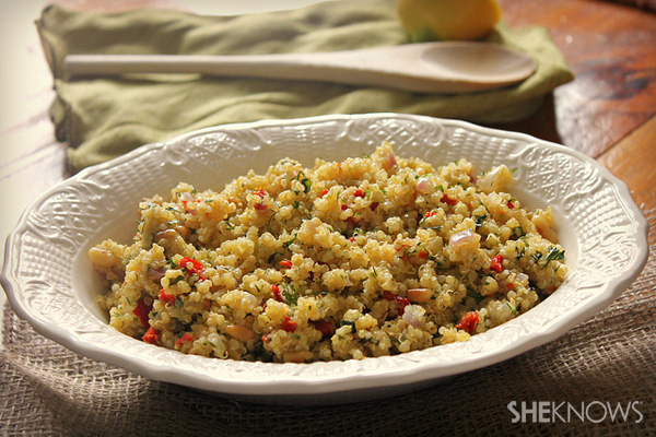 Herbed quinoa salad with toasted pine nuts and lemon