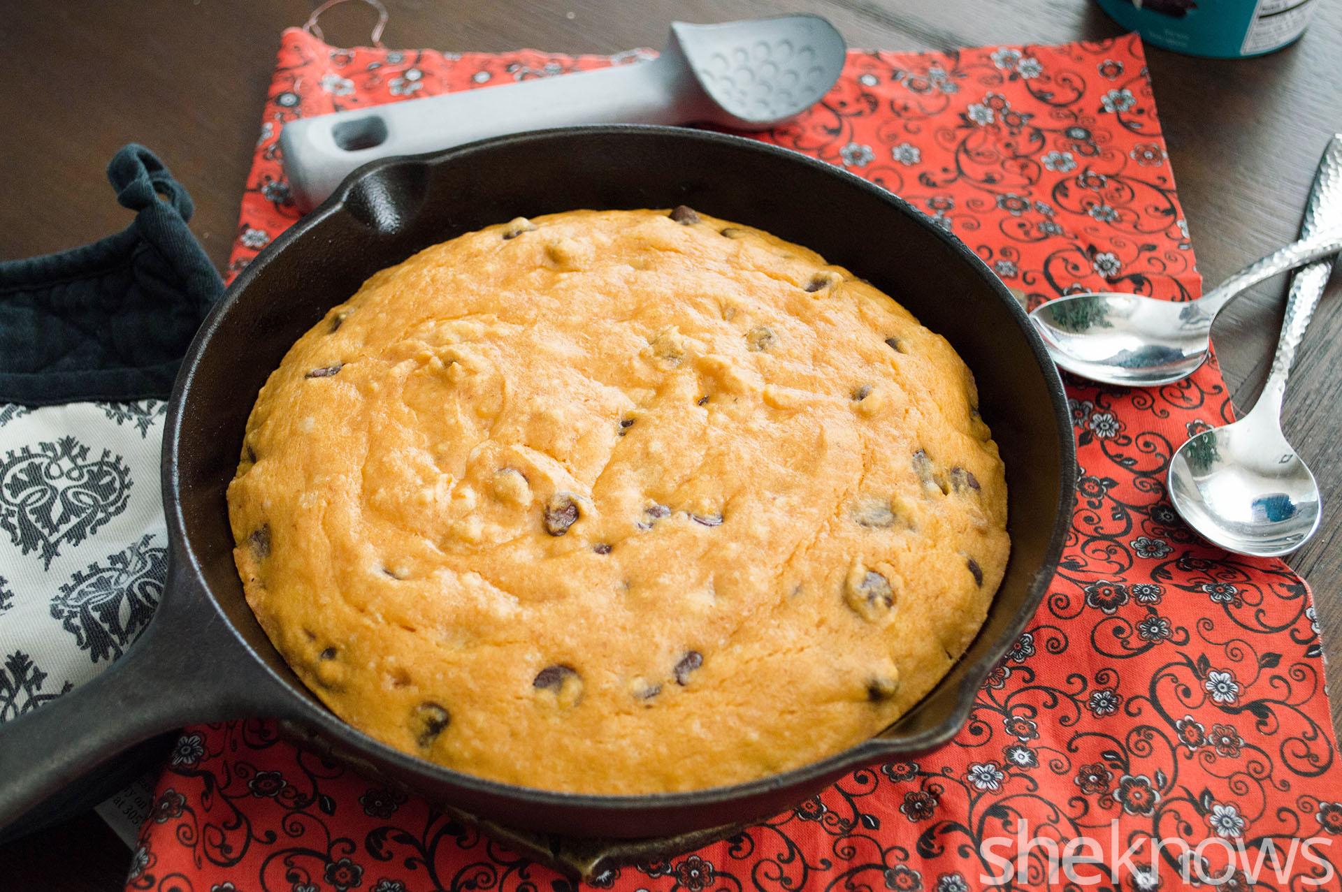 Hersheys pumpkin chocolate chip skillet cookie