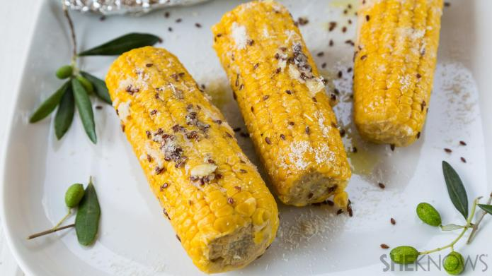 Guiltless baked corn on the cob
