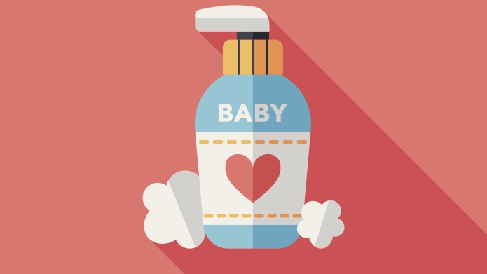 baby cosmetics flat icon with long