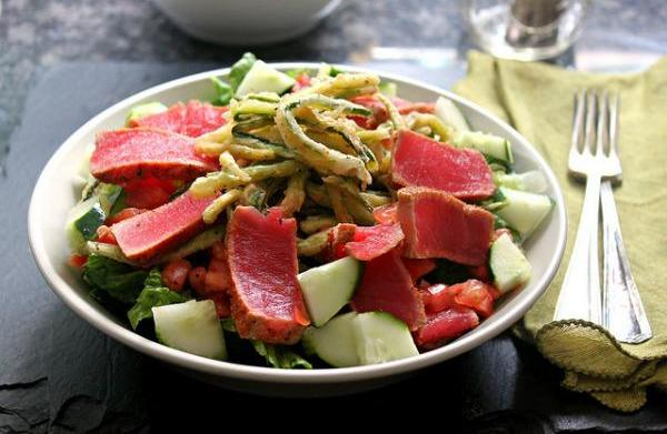 Cajun-dusted pan-seared Ahi tuna salad with