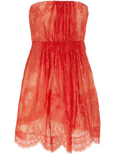 lace and silk strapless dress