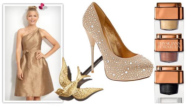 Gold metallic holiday beauty style