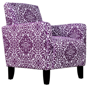angelo:HOME Sutton Modern Damask Provence Purple Arm Chair