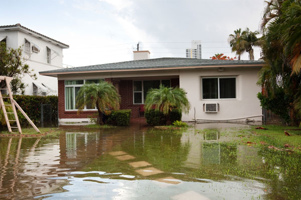 Home in flooded area