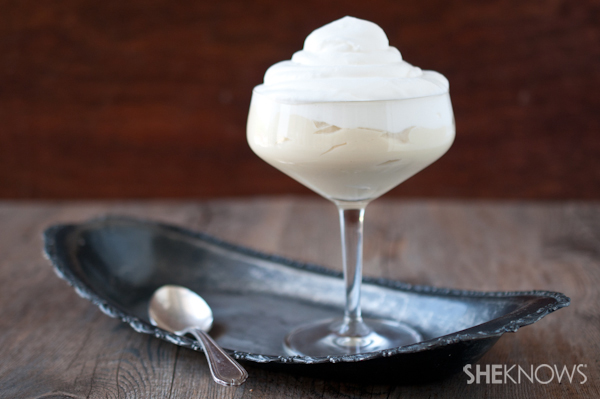Lemon pudding with whipped cream