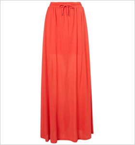 bold red maxi skirt