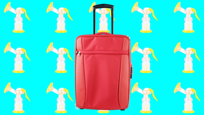 Travel suitcase with breast pump background