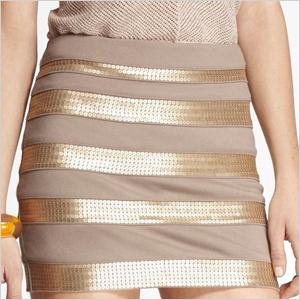 sequin-banded skirt