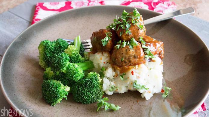Healthy chicken meatballs over mashed cauliflower