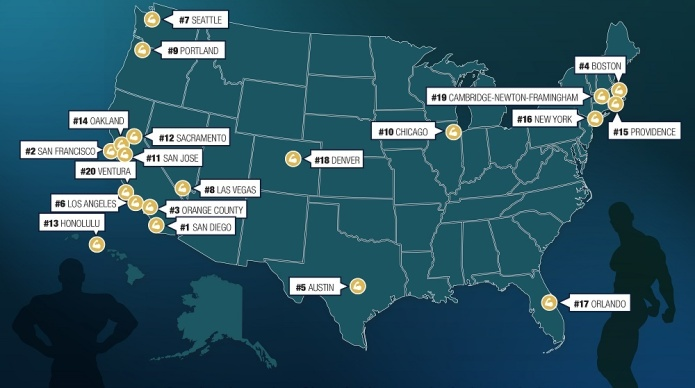 America's 'hunkiest' cities have been named