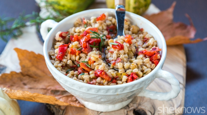Creamy orzotto with roasted peppers and