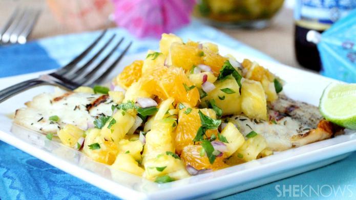 Luscious pineapple-orange salsa puts simple grilled