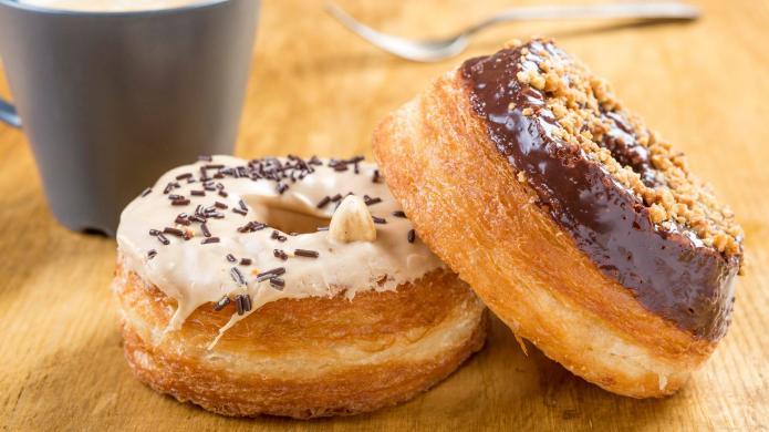 donut cronut on a wodden table
