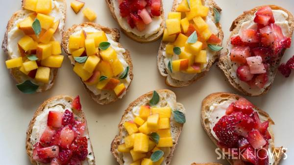 Strawberry and peach crostinis with swiss