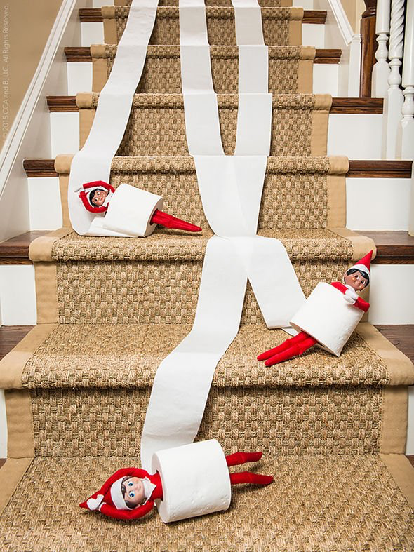 Elf on the Shelf Toilet Paper Stairs