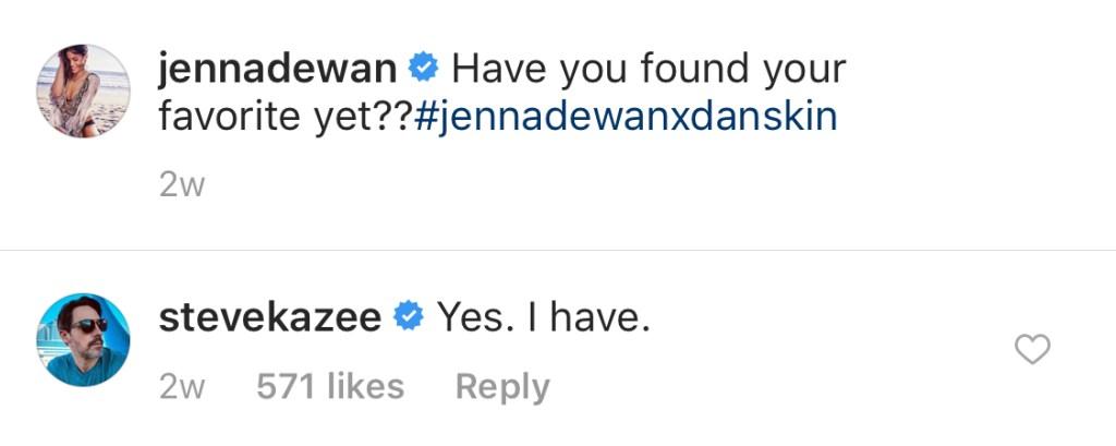 Photo of Steve Kazee's flirty comment on Jenna Dewan's Instagram