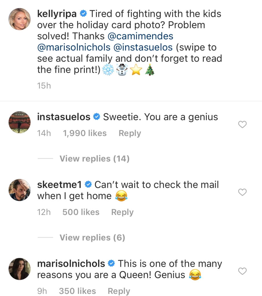 Photo of Instagram comments for Kelly Ripa & Mark Consuelos' Riverdale Christmas card
