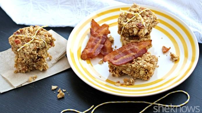 No-bake maple-bacon-peanut butter granola bars are