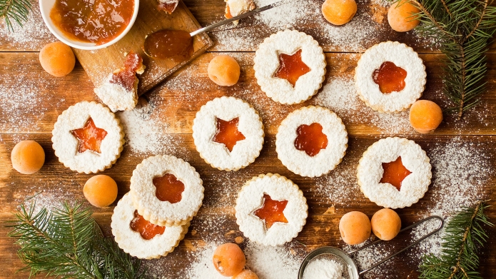 Traditional Linzer cookies; Shutterstock ID 1260331723;