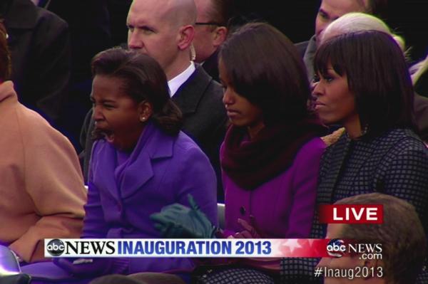 Sasha Obama Yawning During the 2013 Inauguration