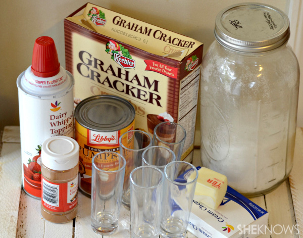 Ingredients for the boozy pumpkin cheesecake shooters