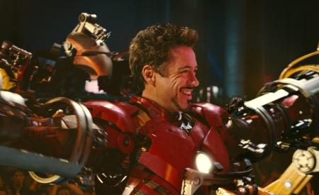 Robert Downey Jr suits up for Iron Man 2
