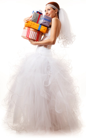 Bride with gifts