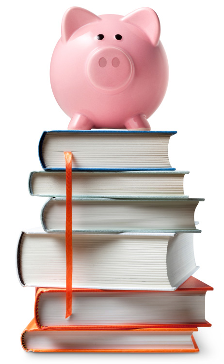 Piggy banks with text books