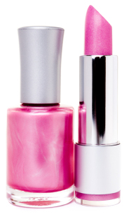 Pink lipstick and nail polish