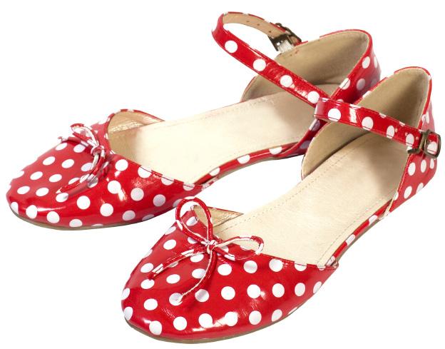 Red polka dot flats
