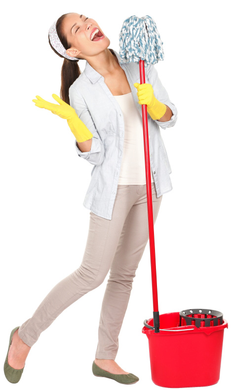 Woman cleaning with a mop