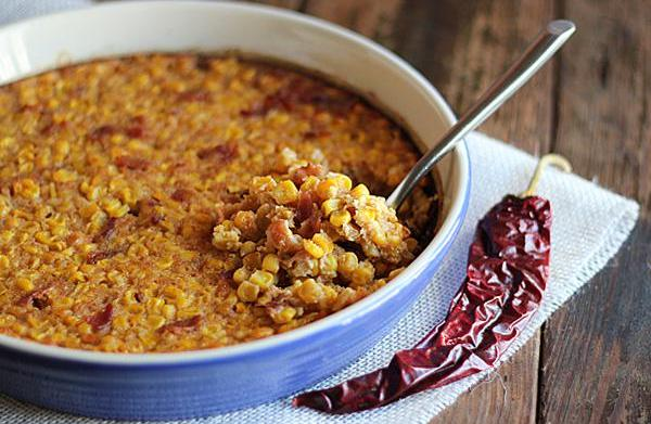 Spicy chipotle corn pudding with bacon