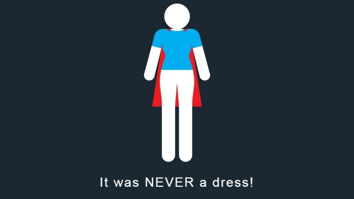 #ItWasNeverADress bathroom sign is a girl