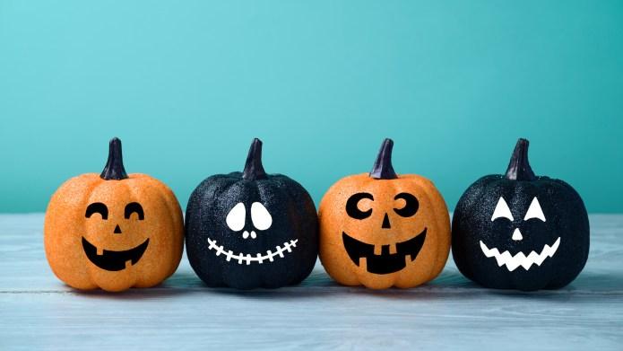 Halloween glitter pumpkin jack o lantern