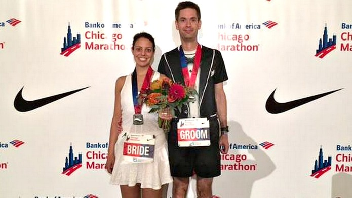 This runner couple got married in
